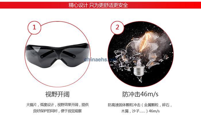 3M 10435 中国款流线型防护眼镜(灰色镜片,防雾)
